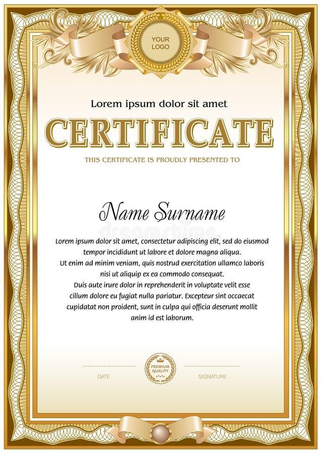 Plantilla en blanco del certificado Diseño del vintage Gamma monocromática del color ilustración del vector