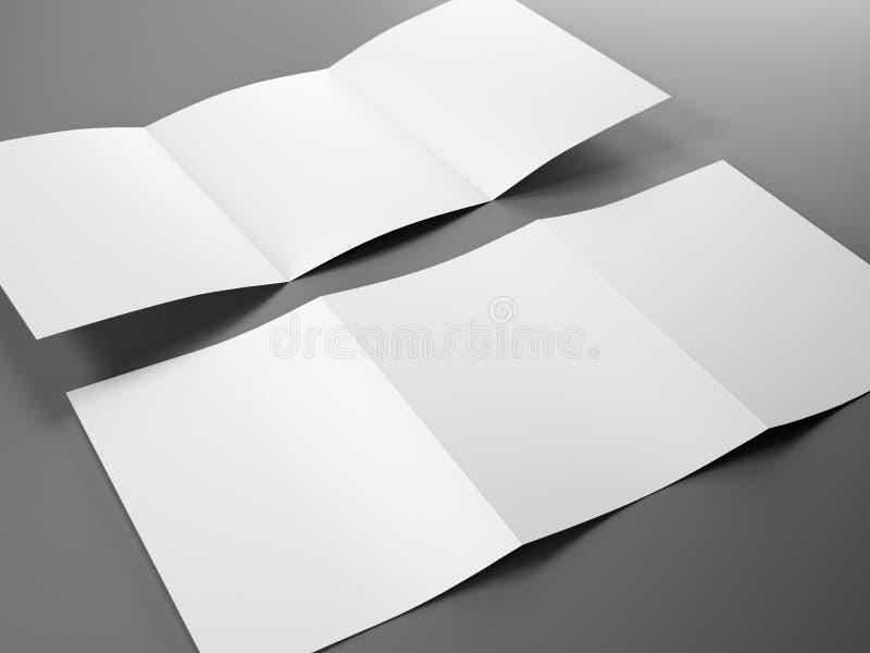 Plantilla en blanco del tamaño triple del folleto A4 ilustración del vector