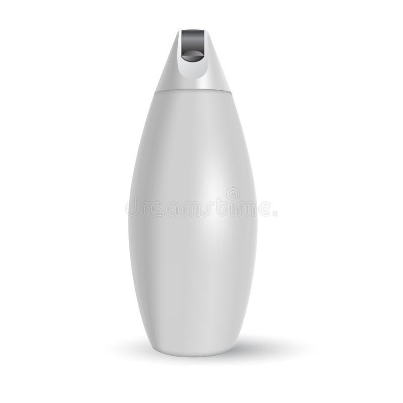 Plantilla en blanco del vector Maqueta de la botella plástica blanca con el casquillo Envase realista 3d para la loción del cuerp ilustración del vector