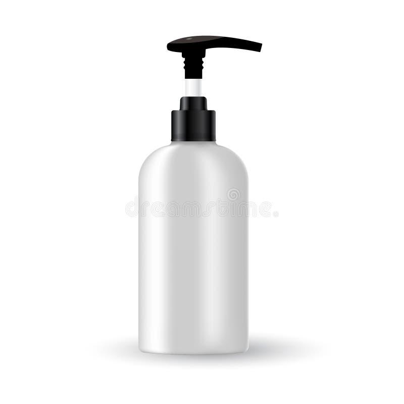 Plantilla en blanco del vector Maqueta de la botella plástica blanca con el casquillo negro Envase realista 3d para la loción del imagenes de archivo