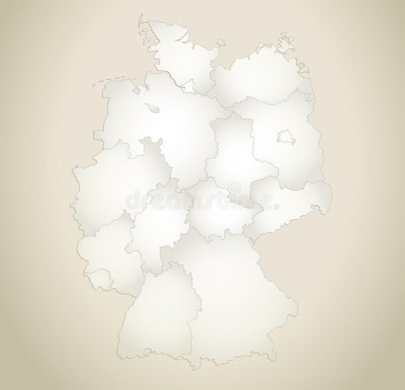 Plantilla en blanco fondo de papel separado de las regiones del mapa de Alemania del viejo stock de ilustración