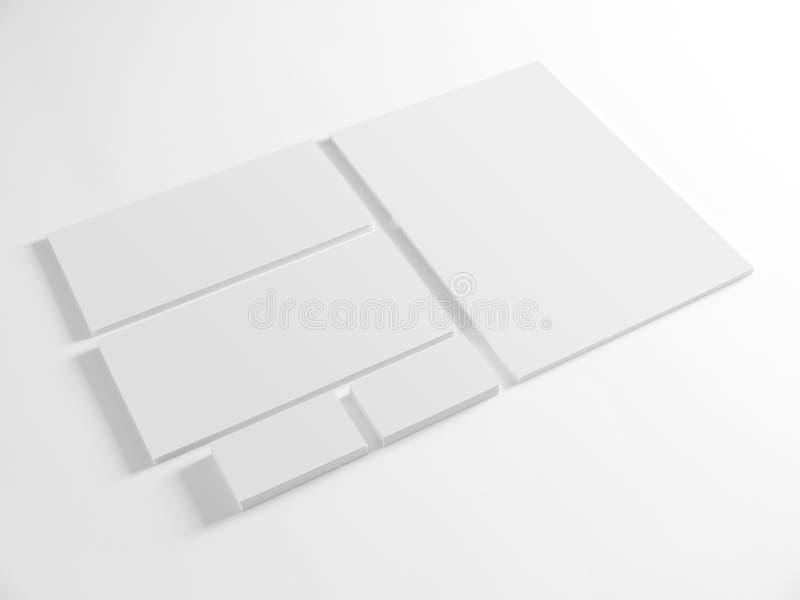 Plantilla en blanco para la identidad de marcado en caliente en blanco foto de archivo