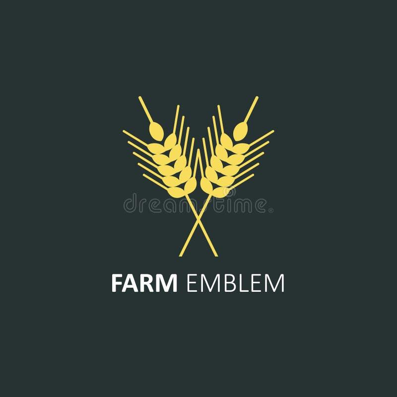 Plantilla en estilo plano - oídos del diseño del logotipo del vector del trigo Puntos del centeno Elemento del vector libre illustration