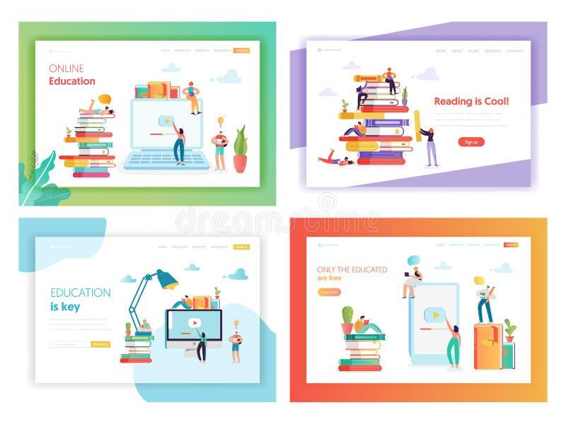 Plantilla en línea de la página del aterrizaje del concepto de la educación ilustración del vector