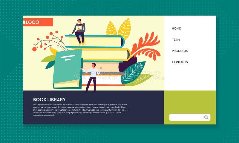 Plantilla en línea de la página web de la literatura de la biblioteca del libro stock de ilustración