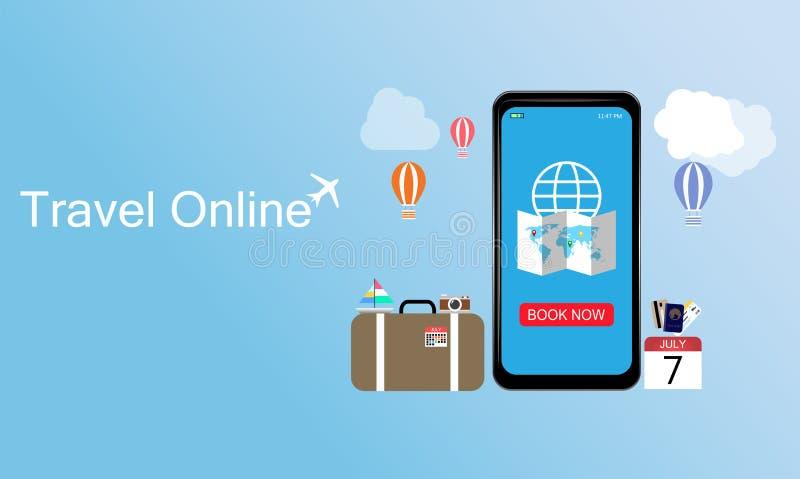 Plantilla en línea del diseño del viaje, concepto del E-boleto, boleto de reservación en Smartphone, usado para InfoGraphic, publ ilustración del vector