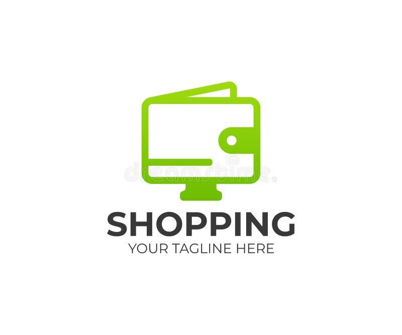 Plantilla en línea del logotipo de las compras Diseño del vector del comercio electrónico stock de ilustración