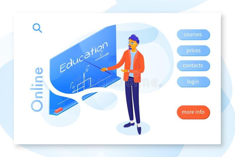 Plantilla en línea del vector de la página del aterrizaje de la educación ilustración del vector