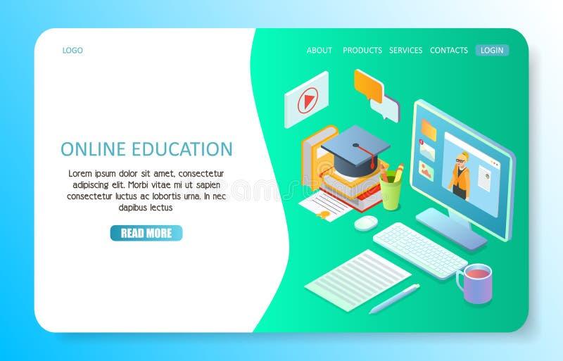 Plantilla en línea del vector del sitio web de la página del aterrizaje de la educación ilustración del vector