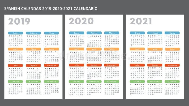 Plantilla española del vector del calendario 2019-2020-2021 ilustración del vector
