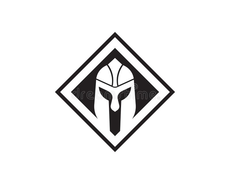 Plantilla espartano del logotipo del casco libre illustration