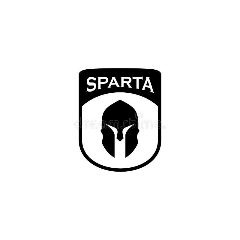 Plantilla espartano del vector del diseño del logotipo del guerrero stock de ilustración