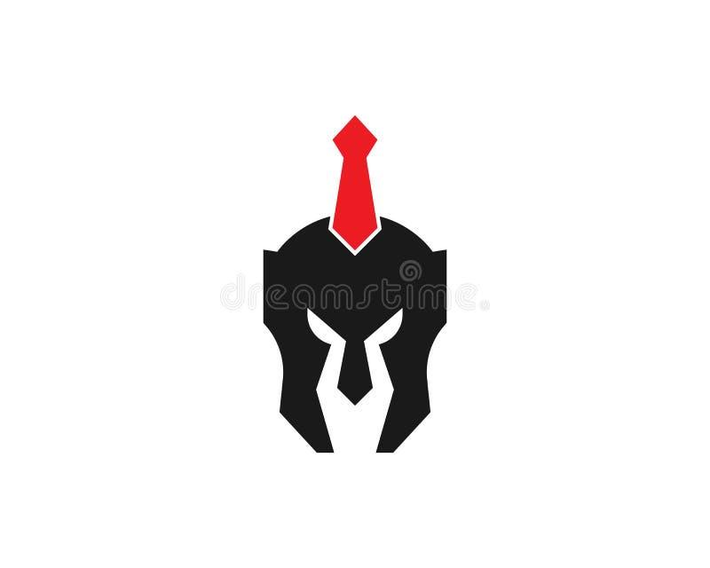 Plantilla espartano del vector del logotipo del guerrero del casco libre illustration