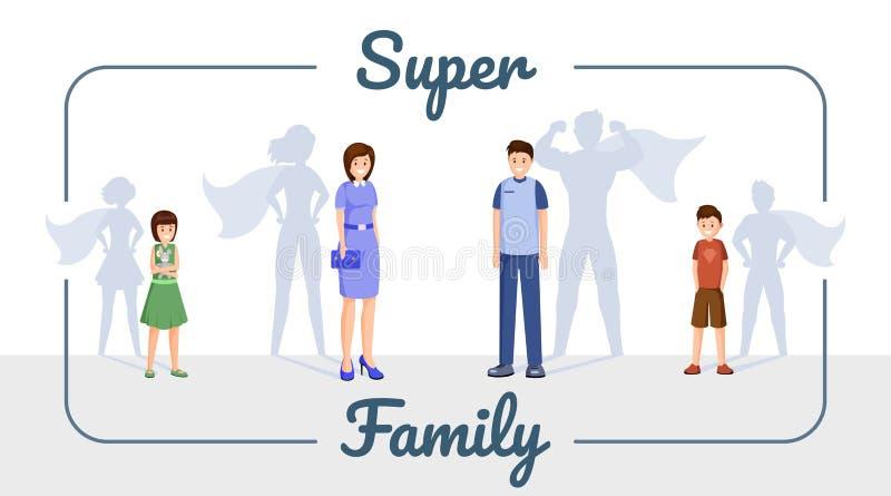 Plantilla estupenda de la bandera del vector de la familia Familia sonriente, madre excelente, padre y niños con la historieta de libre illustration
