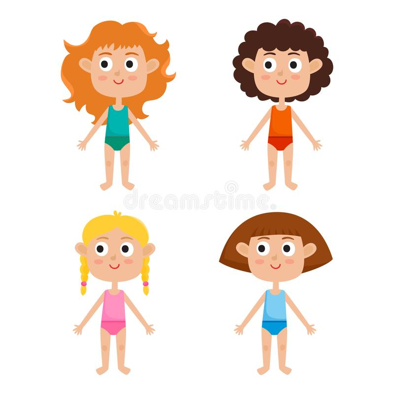 Plantilla europea joven del cuerpo de las muchachas - frente Muchachas en camisas y p ilustración del vector