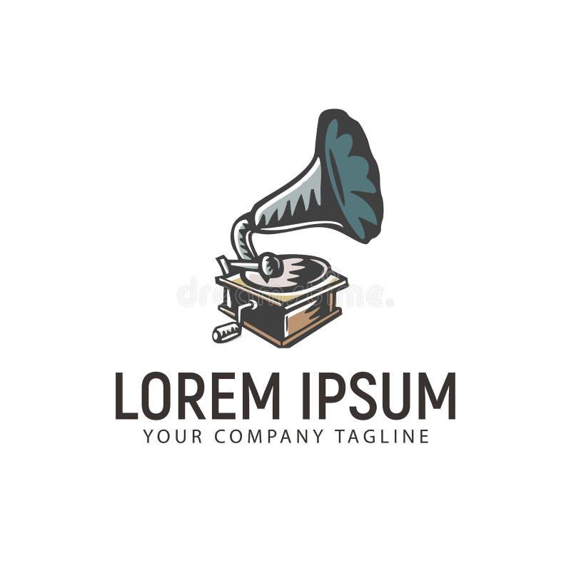 Plantilla exhausta del concepto de diseño del logotipo de la mano retra del fonógrafo libre illustration