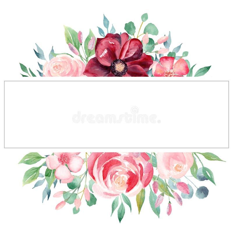 Plantilla exhausta del marco de la trama de la mano de la acuarela del flor stock de ilustración