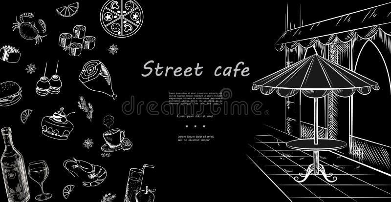 Plantilla exhausta del menú del café de la calle de la mano libre illustration