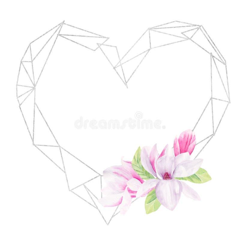 Plantilla exhausta floreciente del marco de la trama de la mano de la acuarela de la flor de la magnolia stock de ilustración