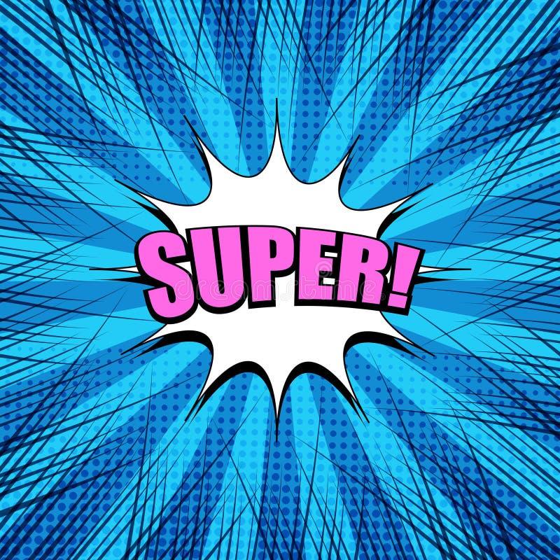Plantilla explosiva azul brillante cómica stock de ilustración
