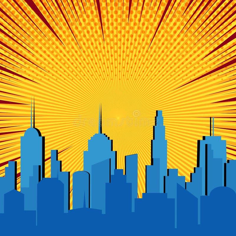 Plantilla explosiva del paisaje urbano azul cómico ilustración del vector