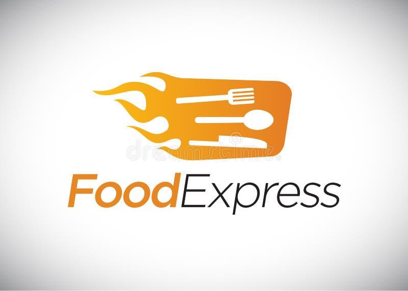 Plantilla expresa del logotipo de la comida stock de ilustración