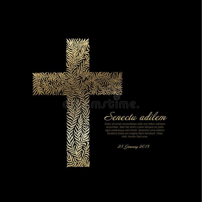 Plantilla fúnebre de la tarjeta con la cruz de oro stock de ilustración