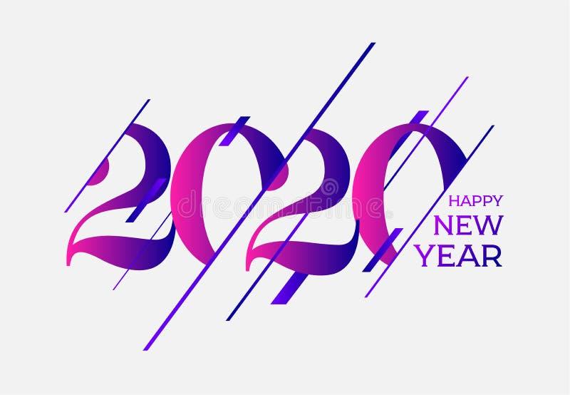 Plantilla Feliz año nuevo 2020 Diseño para sus vacaciones de temporada volantes, saludos e invitaciones, Navidad temática ilustración del vector