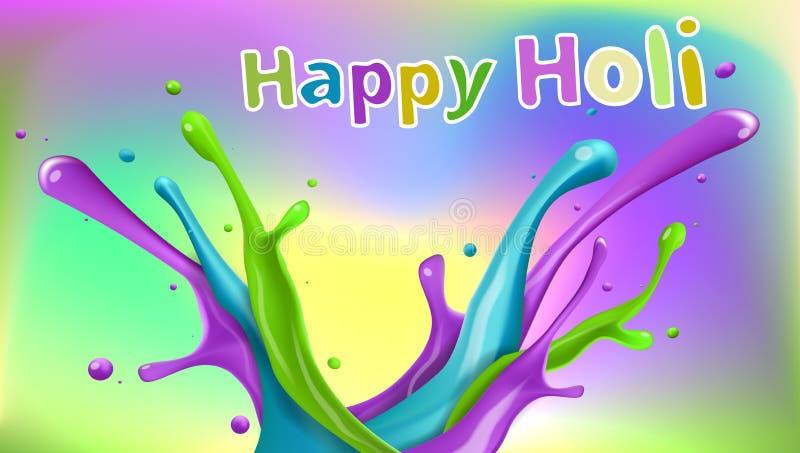 Plantilla feliz colorida del ejemplo de Holi stock de ilustración