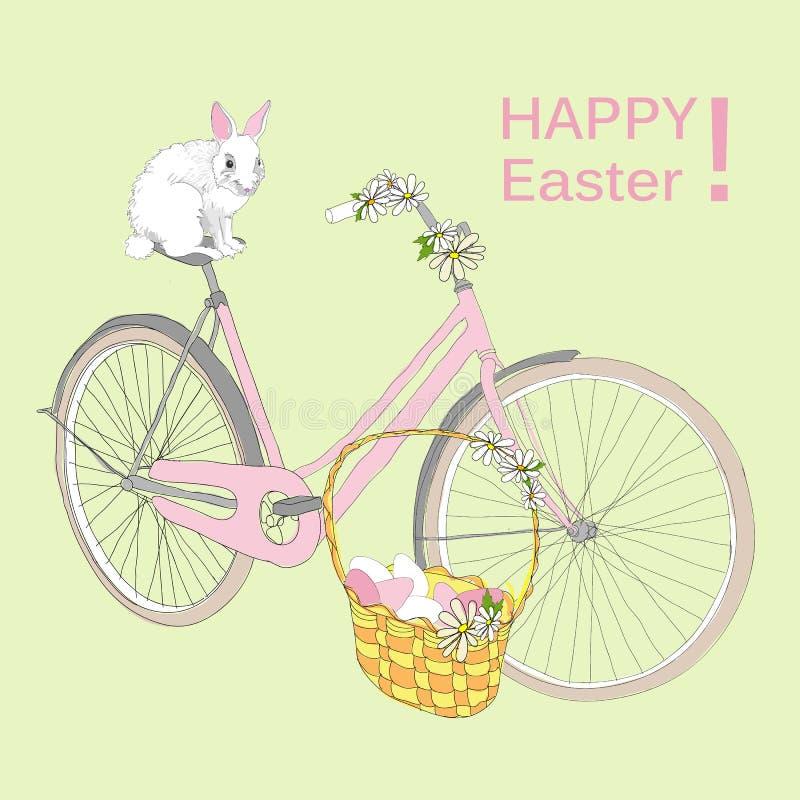 Plantilla feliz de dibujo de Pascua ilustración del vector