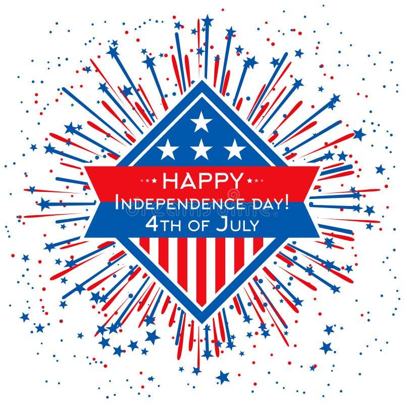 Plantilla feliz de la bandera del Día de la Independencia Vector fondo del 4 de julio con el fuego artificial del color de la ban stock de ilustración