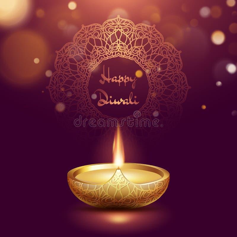Plantilla feliz de la lámpara de aceite del diya del diwali Festival hindú de Deepavali del indio de luces EPS 10 stock de ilustración