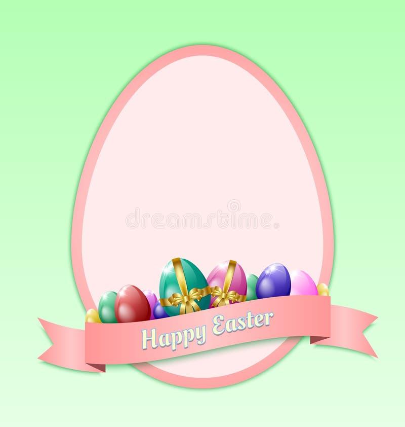 Plantilla feliz de la tarjeta de felicitación de Pascua libre illustration