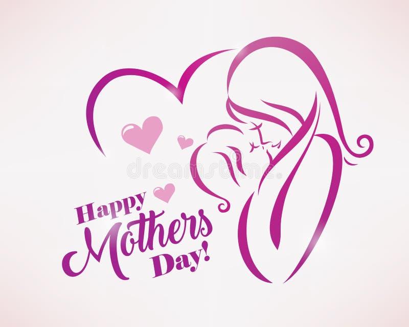 Plantilla feliz de la tarjeta de felicitación del día de madres stock de ilustración