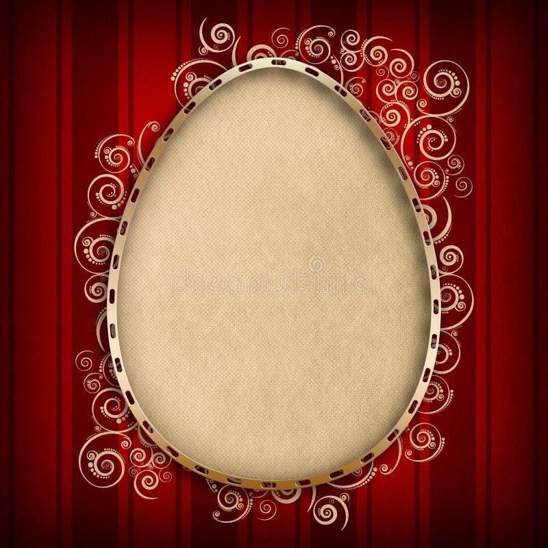 Plantilla feliz de la tarjeta de pascua - forma del huevo en fondo rojo stock de ilustración