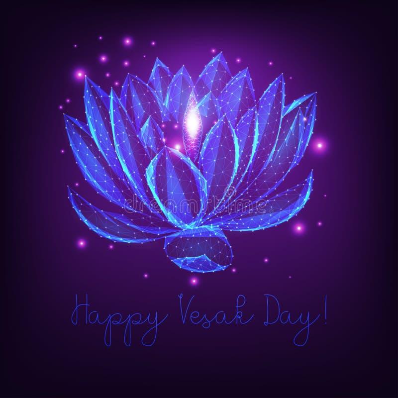 Plantilla feliz de la tarjeta de felicitación del día de Vesak con las lámparas y las estrellas de aceite de la flor de loto en p ilustración del vector