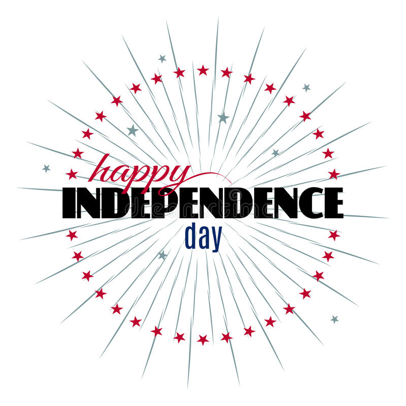 Plantilla feliz de las letras de Día de la Independencia stock de ilustración