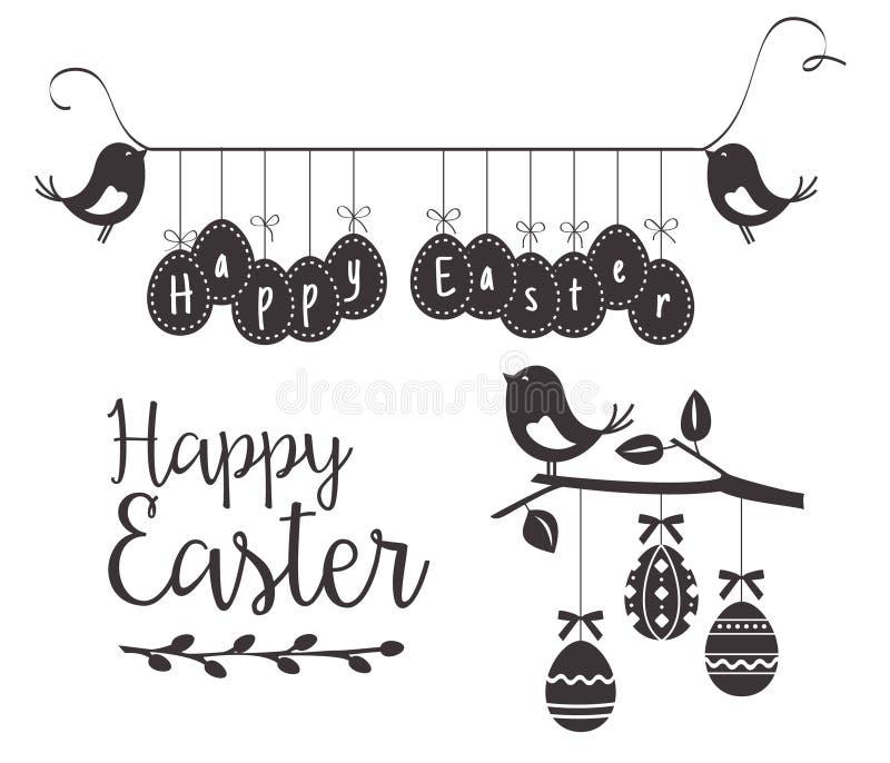 Plantilla feliz de Pascua con los pájaros y los huevos ilustración del vector