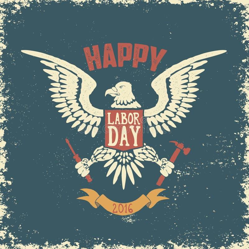Plantilla feliz del cartel del Día del Trabajo Eagle en fondo del grunge stock de ilustración