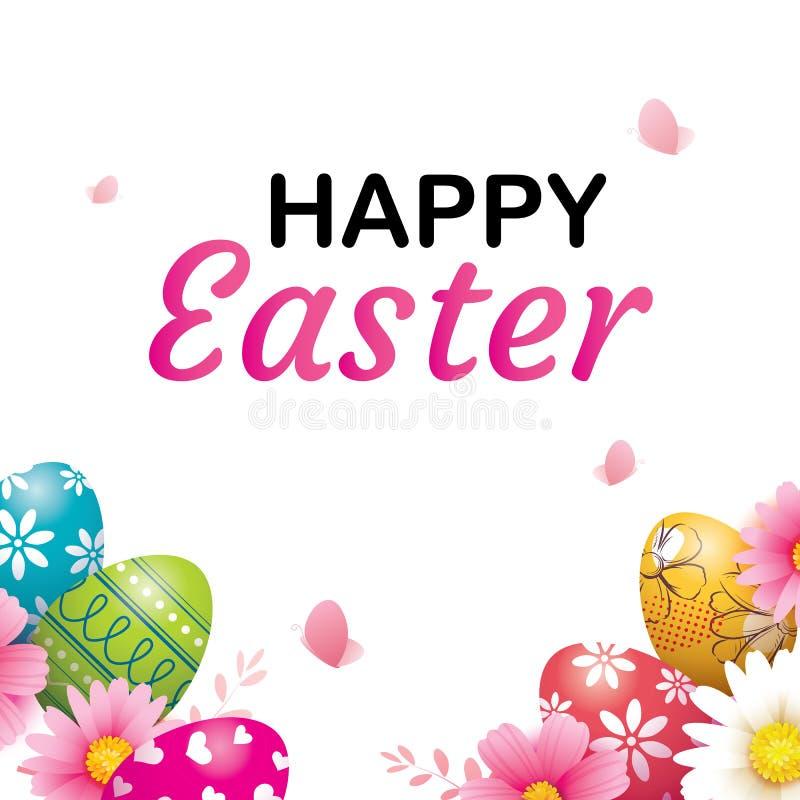Plantilla feliz del fondo de la tarjeta de felicitación del huevo de Pascua Puede ser utilizado para la invitación, anuncio, pape ilustración del vector