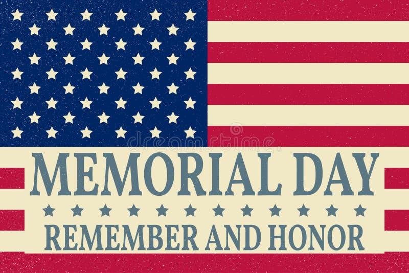 Plantilla feliz del fondo de Memorial Day Cartel feliz de Memorial Day Recuerde y honre encima de bandera americana Bandera patri ilustración del vector