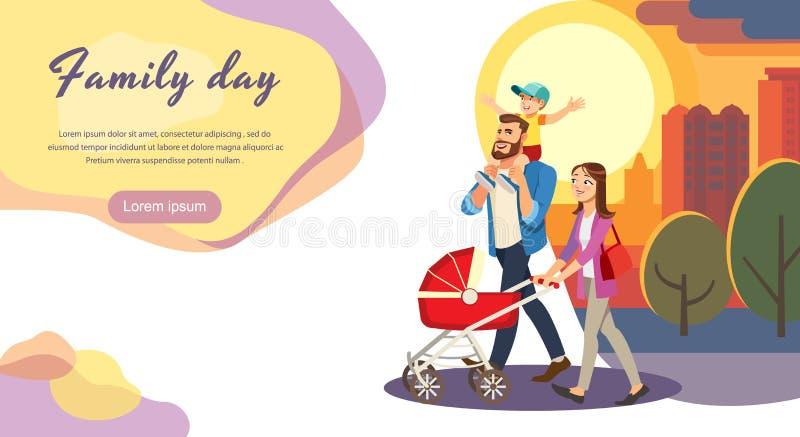 Plantilla feliz del sitio web del vector de la historieta del día de la familia ilustración del vector
