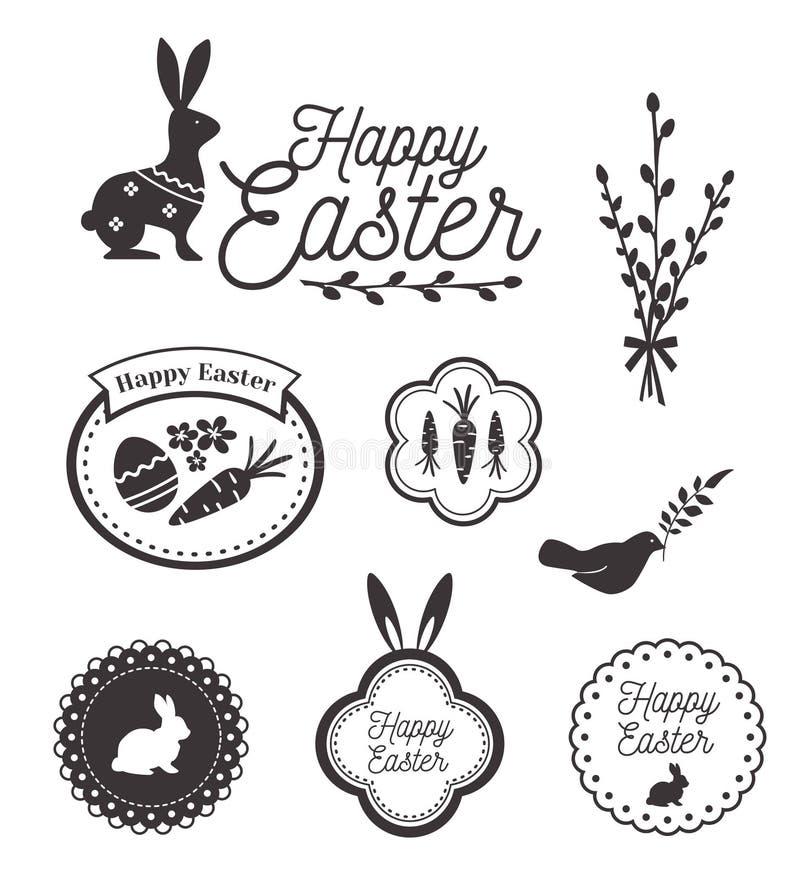 Plantilla feliz, iconos, muestras con los pájaros, huevos y conejo de Pascua libre illustration