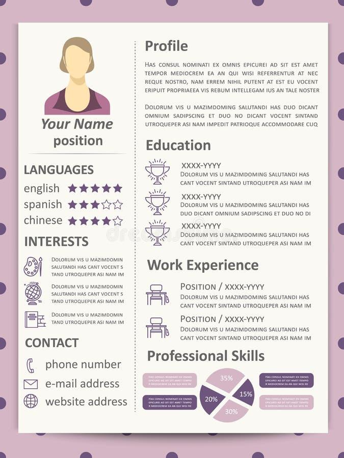 Plantilla femenina del curriculum vitae con los elementos y la línea iconos del infographics libre illustration