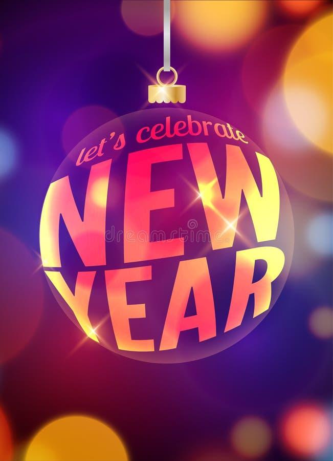 Plantilla festiva del diseño del aviador de la Feliz Año Nuevo Celebración del cartel del fondo del día de fiesta Invitación del  ilustración del vector