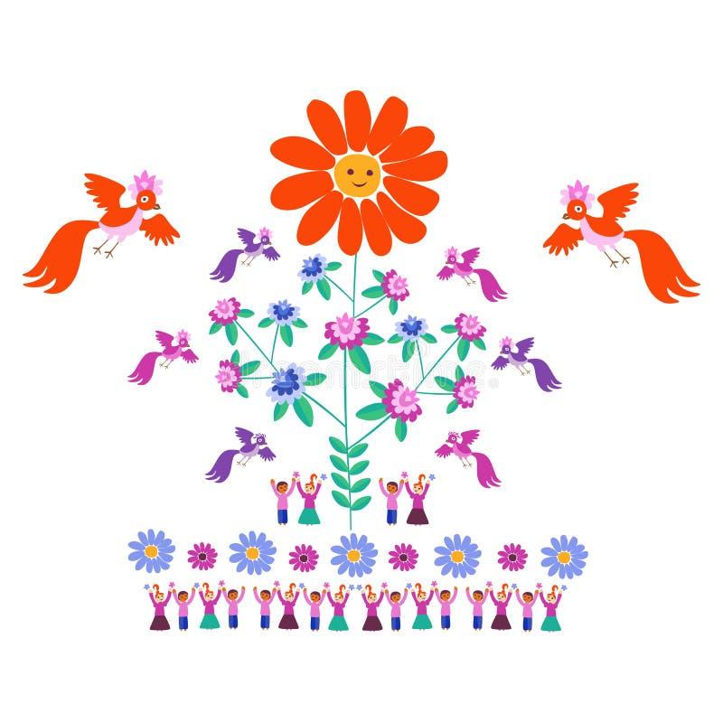 Plantilla festiva para el bordado Flor - Sun, árbol floreciente, pájaros y gente linda de la historieta libre illustration