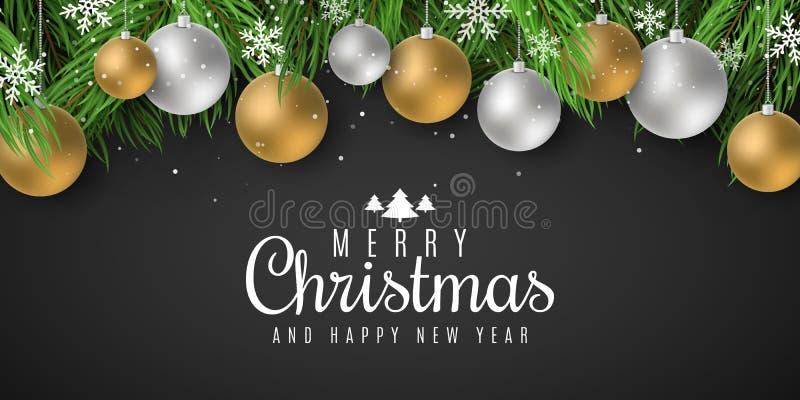 Plantilla festiva para la Feliz Navidad y Feliz Año Nuevo 2020 con las letras Árbol de abeto con las bolas festivas y los copos d imagen de archivo libre de regalías