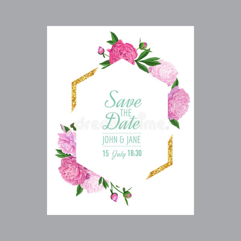Plantilla Floral De La Invitación De La Boda Ahorre La Tarjeta De ...