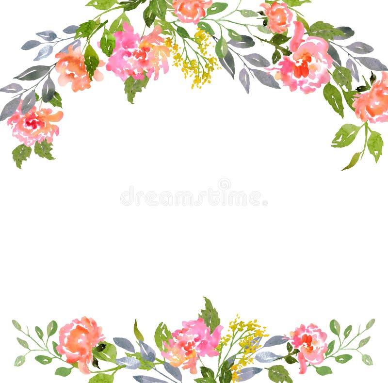 Plantilla floral de la tarjeta de la acuarela ilustración del vector