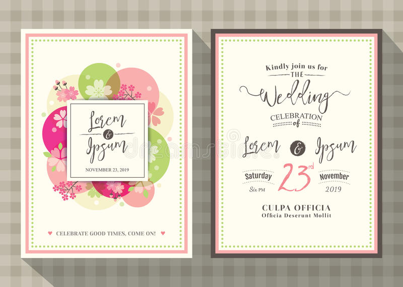 Plantilla floral de la tarjeta de la invitación de la boda de la flor de cerezo ilustración del vector